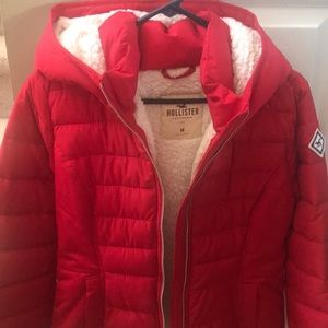 Red Hollister Sherpa lined coat